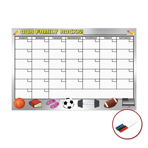 Our Family Rocks Large Dry Erase Removable Wall Calendar Premium 24-Inch by 36-Inch Peel and Stick Self-Adhesive Decal Sticker Planner Reusable Repositionable Ships Rolled Markers Included