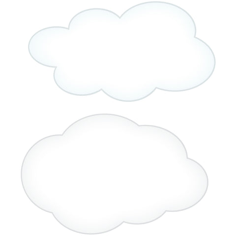 2 Clouds Wall Decals Graphic Peel and Stick Removable 1 Foot Wide 12 Inch Each Made in USA Baby Nursery Sticker