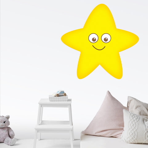 Star Smiling Wall Decal Graphic Peel and Stick Removable 2 Feet Wide 24 Inch  Baby Nursery Sticker