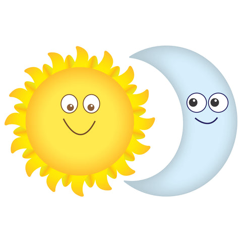 Sun and Moon Smiling Wall Decals Graphic Peel and Stick Removable 1 Foot Tall 12 Inch Made in USA Baby Nursery Sticker