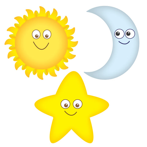 Sun, Moon and Star Smiling Wall Decals Graphic Peel and Stick Removable 1 Foot Tall 12 Inch Made in USA Baby Nursery Sticker