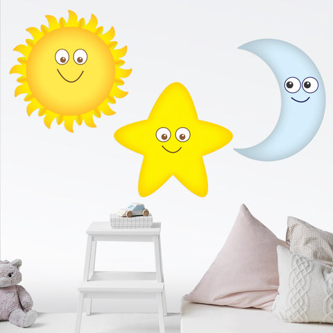 Sun, Moon and Star Smiling Wall Decals Graphic Peel and Stick Removable 2 Feet Tall 24 Inch Made in USA Baby Nursery Sticker