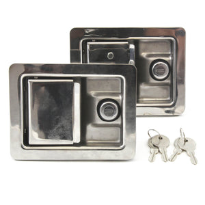 Red Hound Auto 2 Stainless Door Lock Trailer Toolbox RV Handle Latch Lg Weld Screw Paddle Key