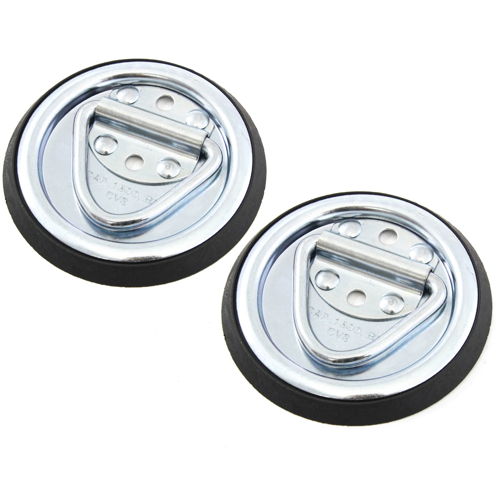 2 Surface Mount D Rope Ring 1/4 Inches Tie Down Truck Trailer Cargo Van Point 4 Inches Round