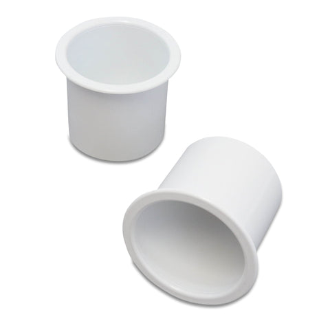 2 Cup Holders Plastic Boat RV Car Insert Regular Sofa Large Game Table Pocket Recessed Universal Marine Pontoon Motorhome Camper White