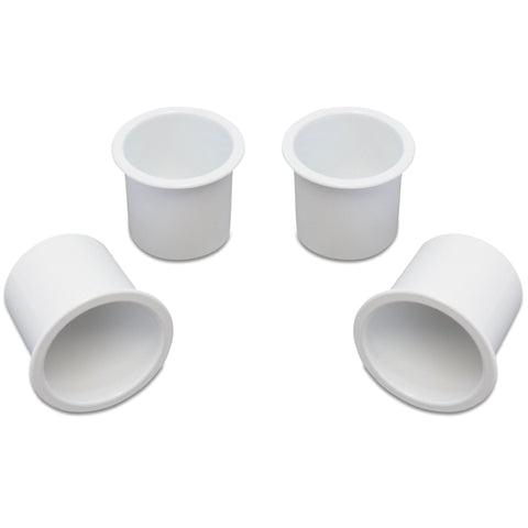 4 Cup Holders Plastic Boat RV Car Insert Regular Sofa Large Game Table Pocket Recessed Universal Marine Pontoon Motorhome Camper White