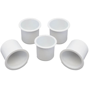 5 Cup Holders Plastic Boat RV Car Insert Regular Sofa Large Game Table Pocket Recessed Universal Marine Pontoon Motorhome Camper White
