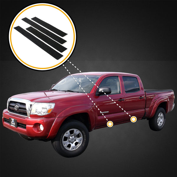 Red Hound Auto Custom Fit 2005-2015 Compatible with Toyota Tacoma Double Cab Door Sill Protectors Scuff Plate Scratch 4pc Applique Kit Paint Protection Shield Set