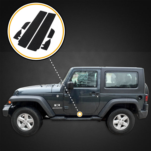 Red Hound Auto Custom Fit Door Sill Entry Guards Scratch Shield 2007-2018 Compatible with Jeep Wrangler JK (2-Door Sill) 6pc Kit Protectors Paint Protection