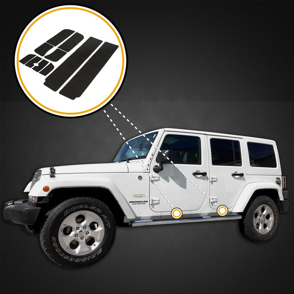 Red Hound Auto Custom Fit 2007-2018 Compatible with Jeep Wrangler Unlimited JKU 10pc Kit Door Sill Entry Guards Scratch Threshold Shield Paint Protection (4-Door Sill Models)