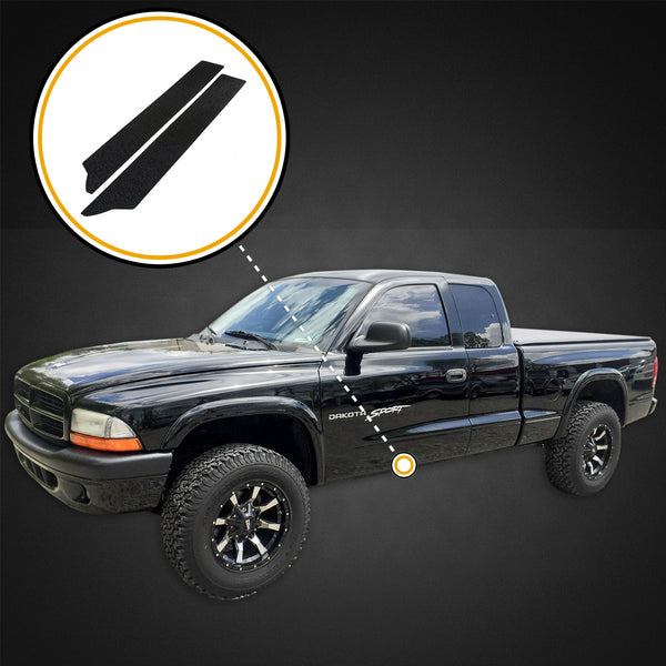 Red Hound Auto Custom Fit Door Entry Guards Scratch Shield 1997-2004 Compatible with Dodge Dakota Regular Cab or Club Cab 2pc Paint Protection (Does not fit Quad Cab)