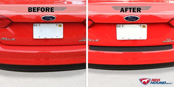 Rear Bumper Scuff Scratch Protector 2012-2018 Compatible with Ford Focus 1pc Shield Cover Black Paint Protection