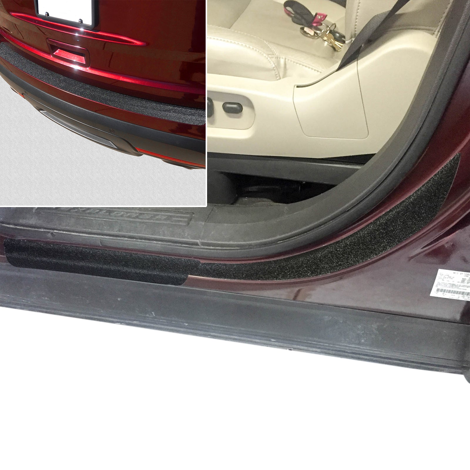 Red Hound Auto 2011-15 Compatible with Ford Explorer 11pc Door Sill Step Protector Bumper Threshold Shield Pads Paint Protection Guard