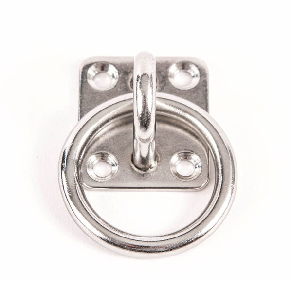 Red Hound Auto 6mm Stainless Steel Square Eye Plate w Ring 1/4 Inches Marine 316 SS Pad Boat Rigging