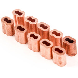 1/8 Inches Copper Wire Rope and Cable Line End Double Barrel Ferrule - Qty 10