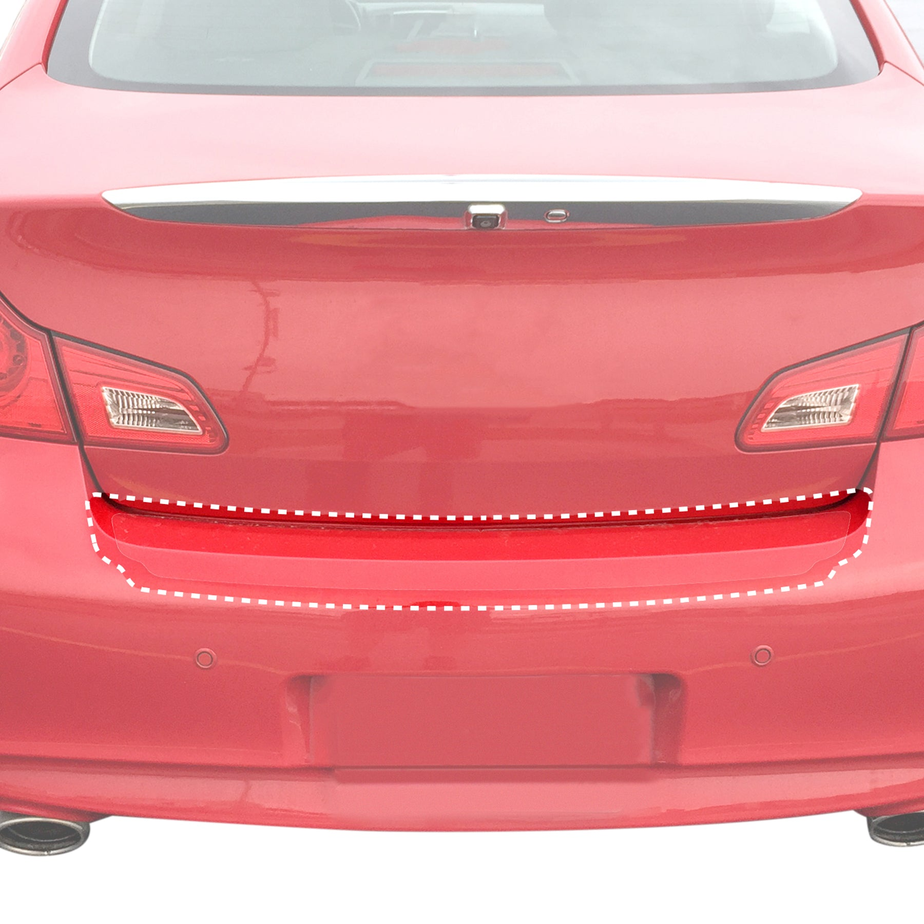 Red Hound Auto Rear Bumper Paint Protection Film Compatible with Infiniti 2011-2013 G37, 2007-2010 G35 and More Sedan 4dr 1pc PPF Custom Clear Self Healing Invisible Cover