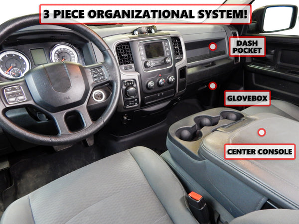 Red Hound Auto Full 3 Piece Vehicle Organizer System Center Console Upper Dash and Glove Box Inserts Compatible with Dodge Ram 1500 2500 3500 2013 2014 2015 2016 2017 2018 Only FITS FOLD Down Console