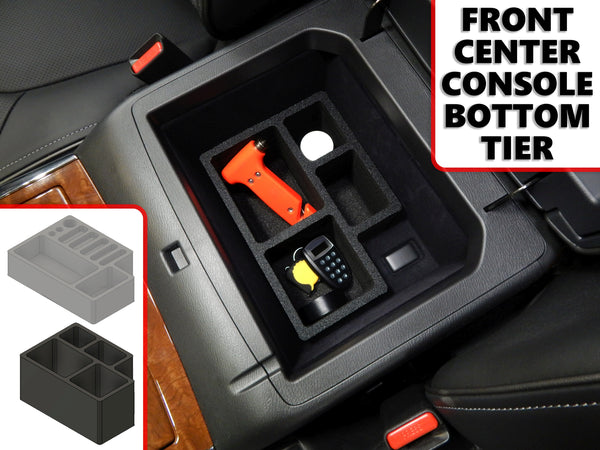 Red Hound Auto Front Center Console Organizer 2 Piece Stacking Set Vehicle Inserts Compatible with Infiniti QX80 2018-2019 Black Anti-Rattle