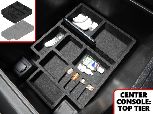 Red Hound Auto Center Console Organizer 2 Piece Stacking Set Vehicle Inserts Compatible with Ford Expedition 2018-2019 Black Anti-Rattle