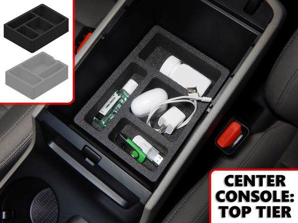 Red Hound Auto Center Console Organizer 2 Piece Stacking Set Vehicle Inserts Compatible with Hyundai Tucson 2016-2019 (Without Hand Brake) Black Anti-Rattle