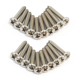Red Hound Auto 20 Marine Pan Head Self Tapping Screw Set Type A No. 8 x 1 Inch 304 SS Stainless Steel Corrosion Resistant
