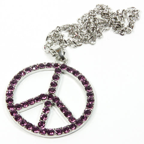 Red Hound Auto Silver Bling Peace Symbol Mirror Car Charm Hanger Ornament Purple Rhinestones w Chain