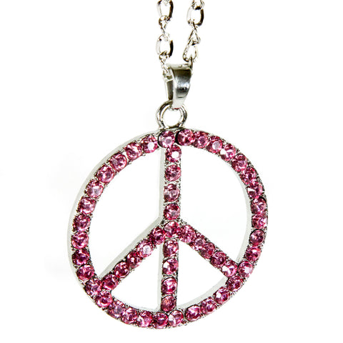 Red Hound Auto Silver Bling Peace Symbol Mirror Car Charm Hanger Ornament Pink Rhinestones with Chain