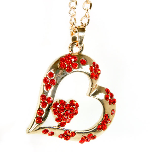 Gold Bling Double Heart Mirror Car Charm Hanger Ornament Red Rhinestones with Chain