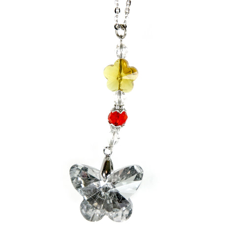 Red Hound Auto Crystal Bling Butterfly Mirror Car Charm Hanger Ornament Sparkle Shine Facets w Chain