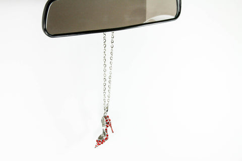 Silver Bling High Heel Shoe Mirror Car Charm Hanger Ornament Red Rhinestones with Chain