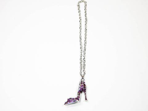 Red Hound Auto Silver Bling High Heel Shoe Mirror Car Charm Hanger Ornament Purple Rhinestones w Chain