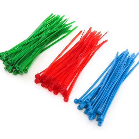 75 Heavy Duty 4 Inch 18 Pound Color Cable Ties Nylon Wraps 3 Colors (25 Red, 25 Green, 25 Blue) Deluxe Combo Kit