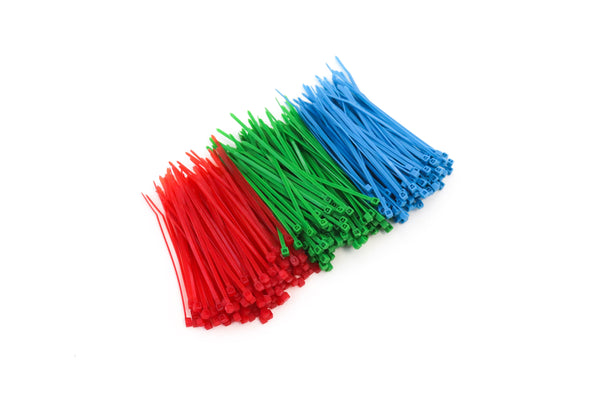 300 Heavy Duty 4 Inch 18 Pound Color Cable Ties Nylon Wraps 3 Colors (100 Red, 100 Green, 100 Blue) Deluxe Bulk Combo Kit