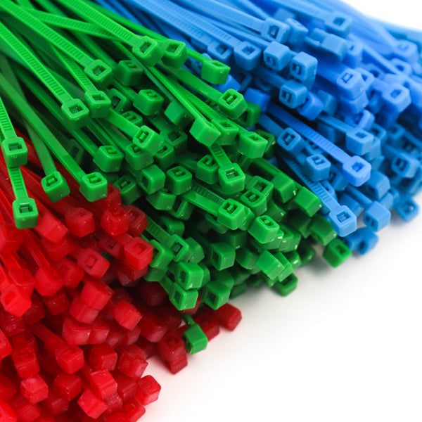 1500 Heavy Duty 4 Inch 18 Pound Color Cable Ties Nylon Wraps 3 Colors (500 Red, 500 Green, 500 Blue) Deluxe Bulk Combo Kit