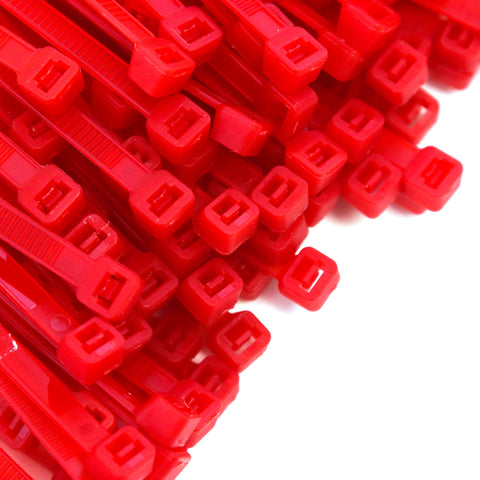 500 Heavy Duty Red 8 Inch 50 Pound Color Cable Ties Nylon Wraps Bulk Combo Kit