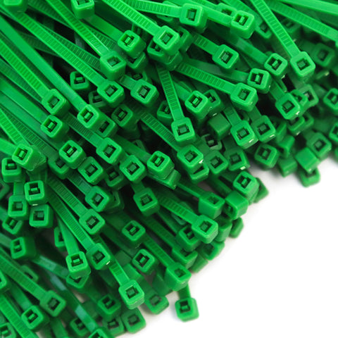 500 Heavy Duty Green 4 Inch 18 Pound Color Cable Ties Nylon Wraps Bulk Combo Kit