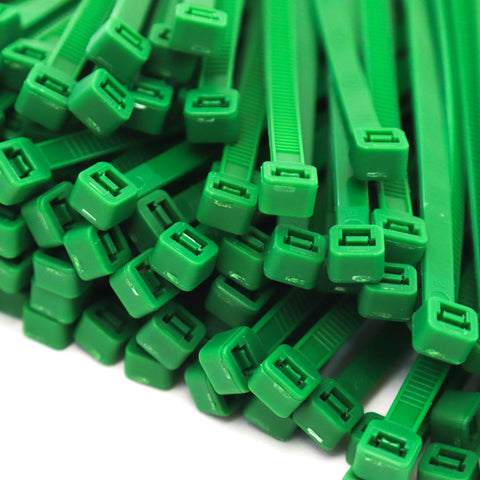 500 Heavy Duty Green 8 Inch 50 Pound Color Cable Ties Nylon Wraps Bulk Combo Kit