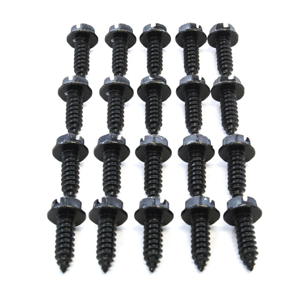 Red Hound Auto 20 Black License Plate Screws Set of Twenty (Zinc Plated) Car Truck Premium New