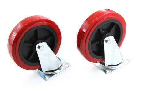 Red Hound Auto Set of 2 Caster Wheels 8 Inches Giant Heavy Duty Set All Swivel Non Marking Skid Resistant Red Wheels