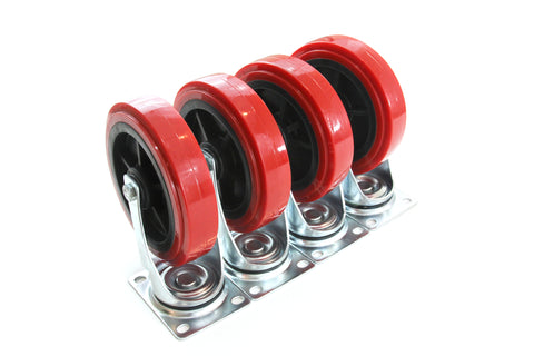 Red Hound Auto Set of 4 Caster Wheels 8 Inches Giant Heavy Duty Set All Swivel Non Marking Skid Resistant Red Wheels