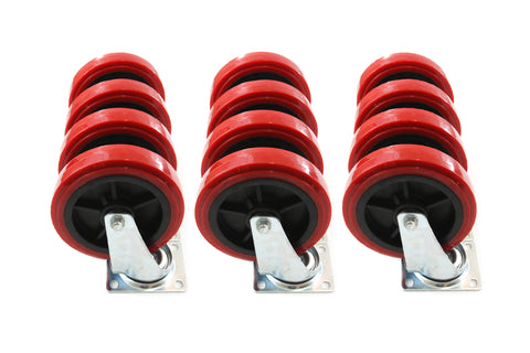 Red Hound Auto Set of 12 Caster Wheels 8 Inches Giant Heavy Duty Set All Swivel Non Marking Skid Resistant Red Wheels
