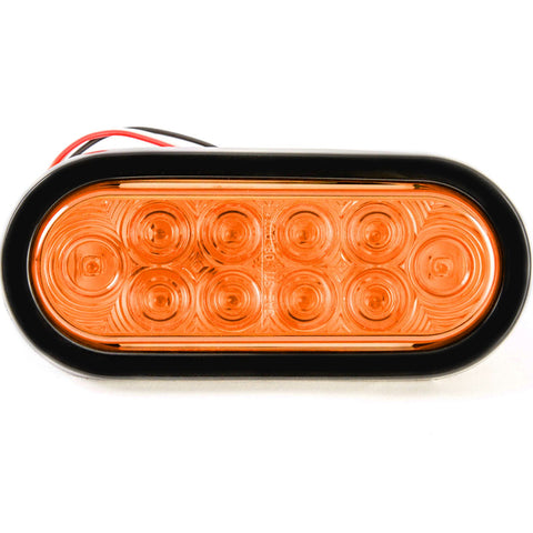 Red Hound Auto 6 Inches Oval Amber LED Parking or Turn Signal Light Flush Mount Trailer Truck - Single Function Light
