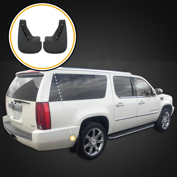 Red Hound Auto Custom Mud Flaps Compatible with Chevy Cadillac Escalade 2007-2014, Tahoe LTZ 2009-2014 - Models w o Flares - Rear 2 pc Set Splash Guards
