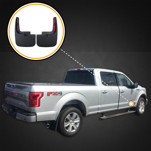 Red Hound Auto 2015-2019 Compatible with Ford F-150 Mud Flaps Guards Splash Flares Front Molded 2pc (with OEM Fender Flares)