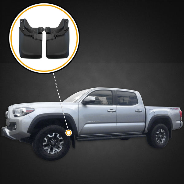 Red Hound Auto 2016-2019 Compatible with Toyota Tacoma Mud Flaps Guards Splash Front Molded 2pc (with OEM Fender Flares Only)