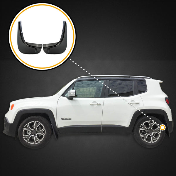 Red Hound Auto 2015-2018 Compatible with Jeep Renegade Mud Flaps Mud Guards Splash Protectors Rear 2pc Set