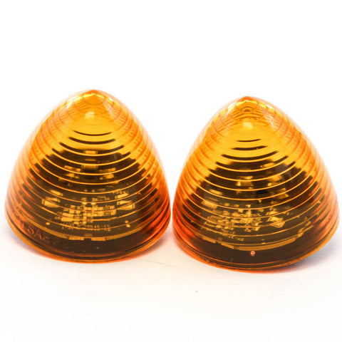 2 Amber LED 2 Inches Marker Beehive Cone Lights Trailer Auto Bright Lighting