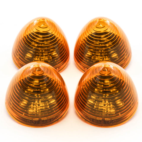 4 Amber LED 2 Inches Marker Beehive Cone Lights Trailer Auto Bright Lighting