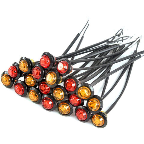 10) 3/4 Inches Amber & Red LED Clearance Side Marker Lights Truck Trailer Pickup Flush