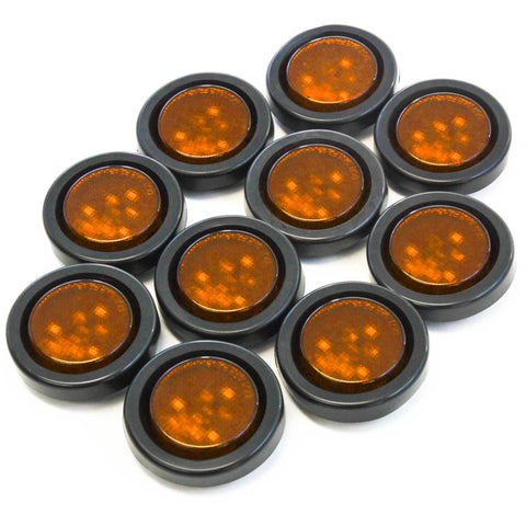 Red Hound Auto (10) Amber LED 2 Inches Round Side Marker Light Kits with Grommet Truck Trailer RV